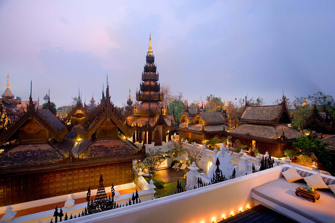 View over the beautiful resort at the Mandarin Oriental Chiang Mai from the Penthouse Suite balcony
