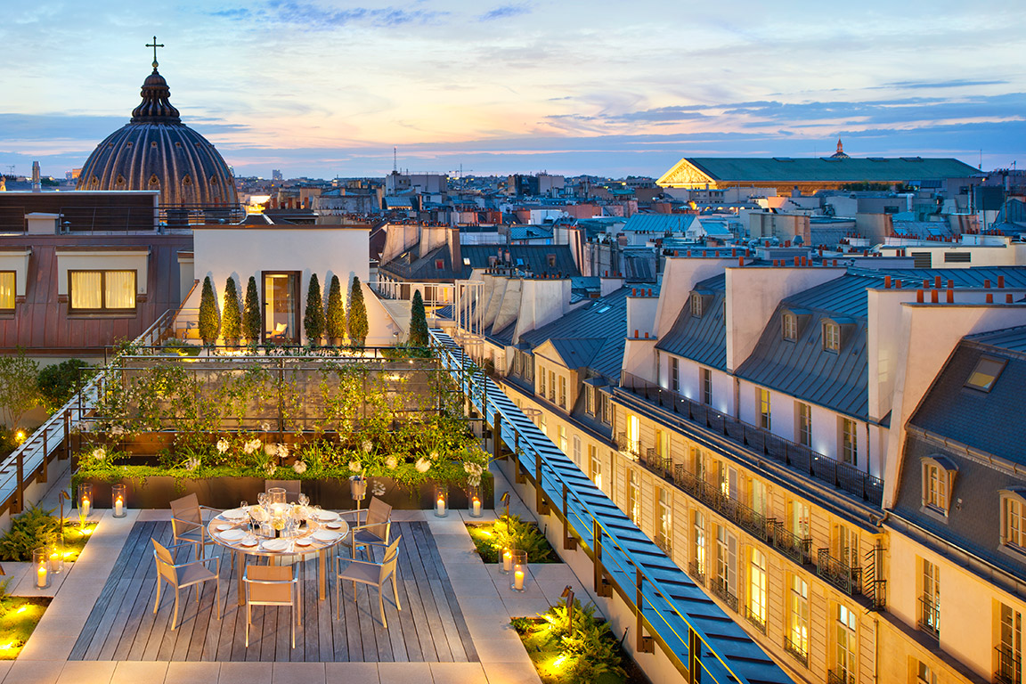 Dusk view over Paris, Penthouse Floor, Mandarin Oriental Paris