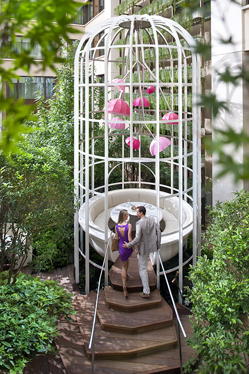 The Butterfly Cage exterior dining at the Mandarin Oriental Hotel Paris