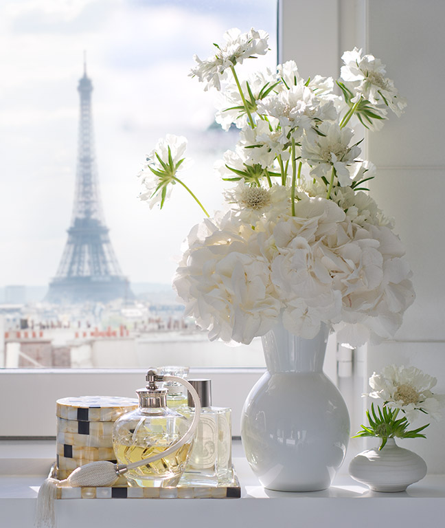 Detail of the view to the Eiffel Tower from the Presidential Suite of the Mandarin Oriental Hotel Paris