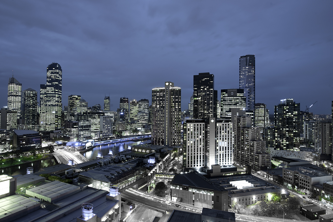 Melbourne at dusk from 28 lounge, Crown Metropol Perth