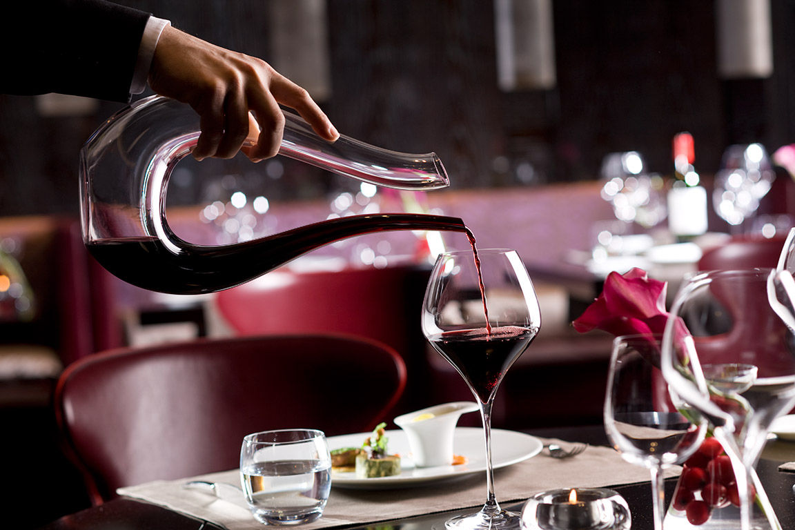 Wine pouring at Rasoi at Mandarin Oriental Geneva