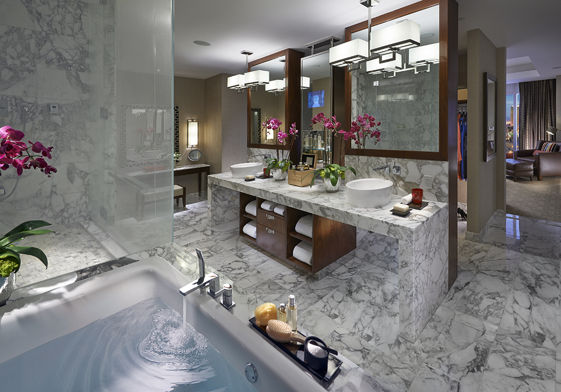 Luxury bathroom in a suite at Mandarin Oriental Las Vegas