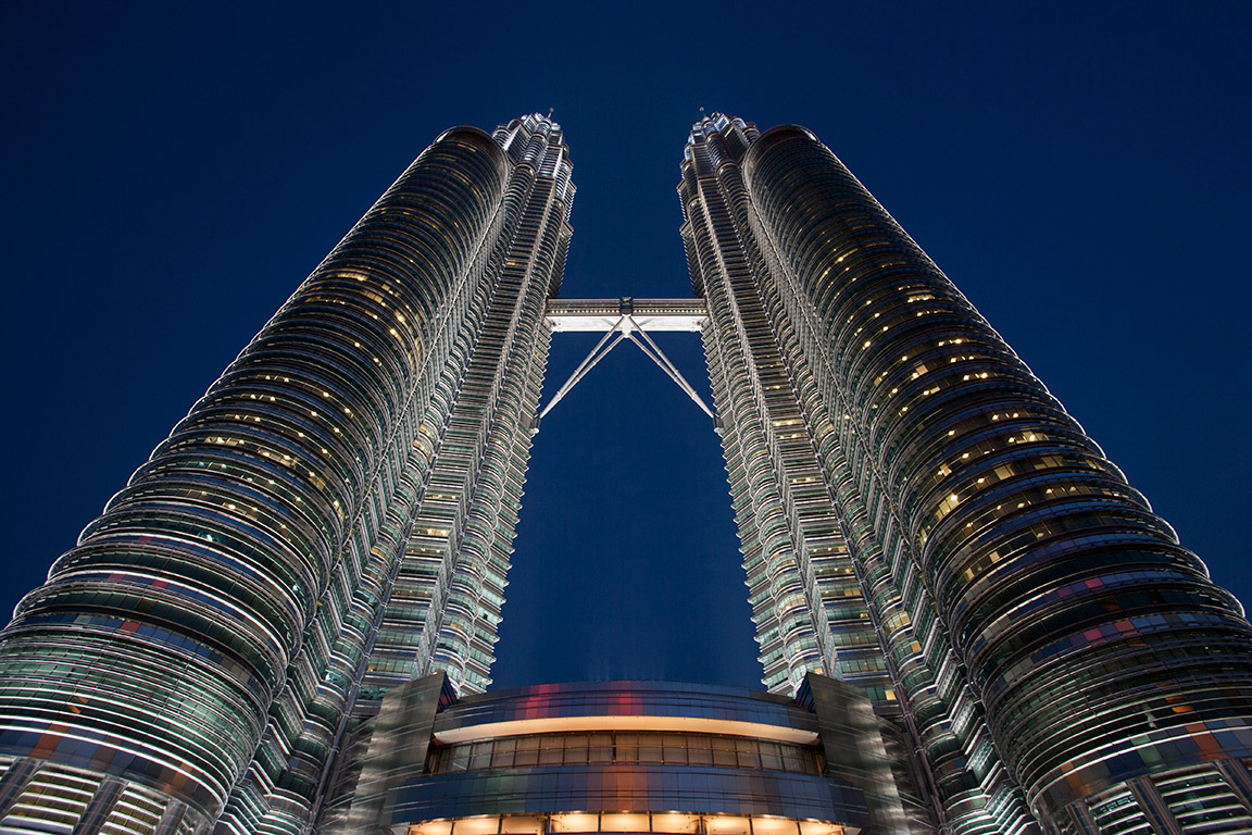 Evening shot of the Petronas Towers Kuala Lumpur Singapore