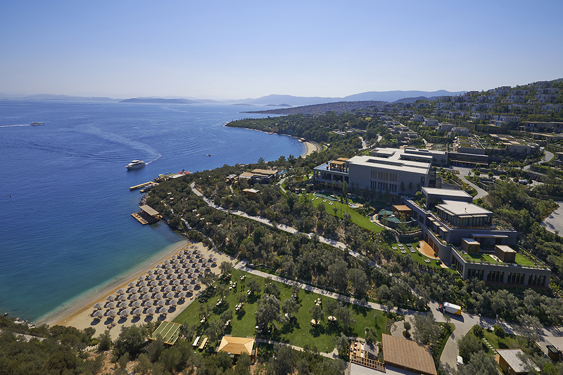 Aerial views of the magnificent Mandarin Oriental Bodrum resort in Cennet Koyu (Paradise Bay) on the Bodrum Peninsula where the Mediterranean Sea meets the Aegean Sea.