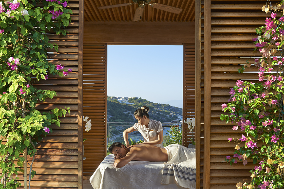 Outdoor Cabana at the luxury Spa, Mandarin Oriental Bodrum resort in Cennet Koyu (Paradise Bay) on the Bodrum Peninsula where the Mediterranean Sea meets the Aegean Sea.