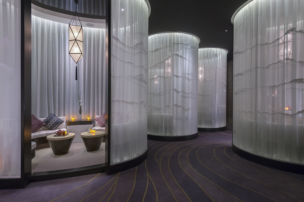 Relaxation area at the sumptuous spa at the Mandarin Oriental Hotel Guangzhou