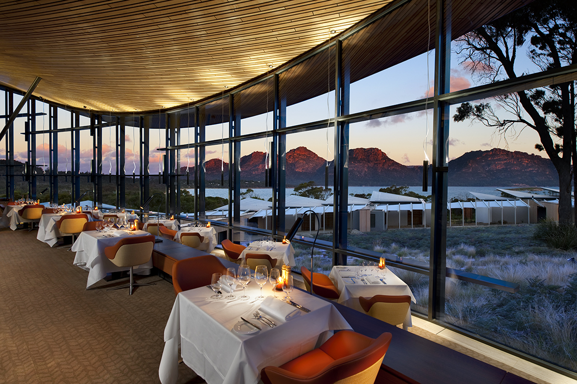 Five star Dining at the Saffire Lodge Resort, Freycinet Peninsula, Tasmania, Australia, with views to the Hazards