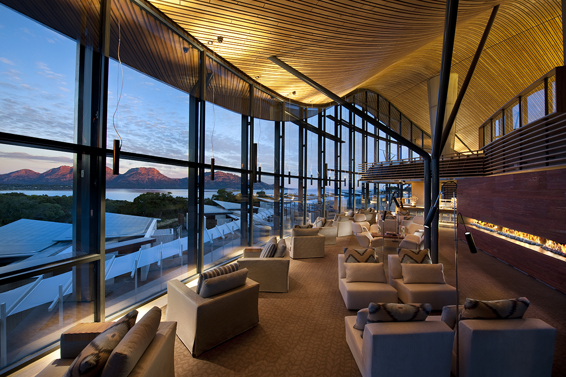 The Lounge, Saffire Lodge Resort, Freycinet Peninsula, Tasmania, Australia, with views to the Hazards
