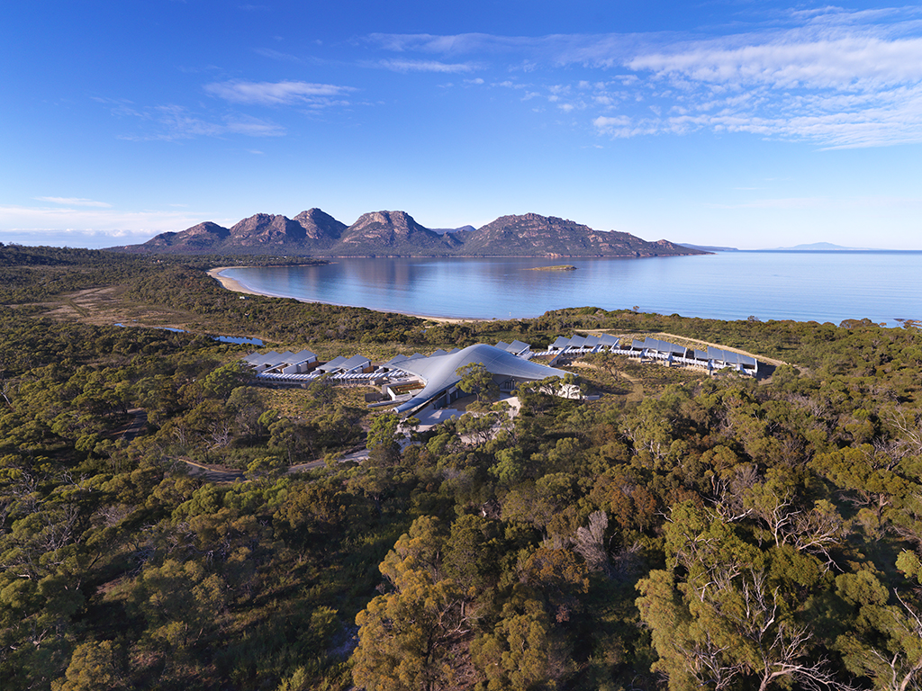 Aerial views of the unique Saffire Resort, Freycinet Peninsula, Tasmania, Australia
