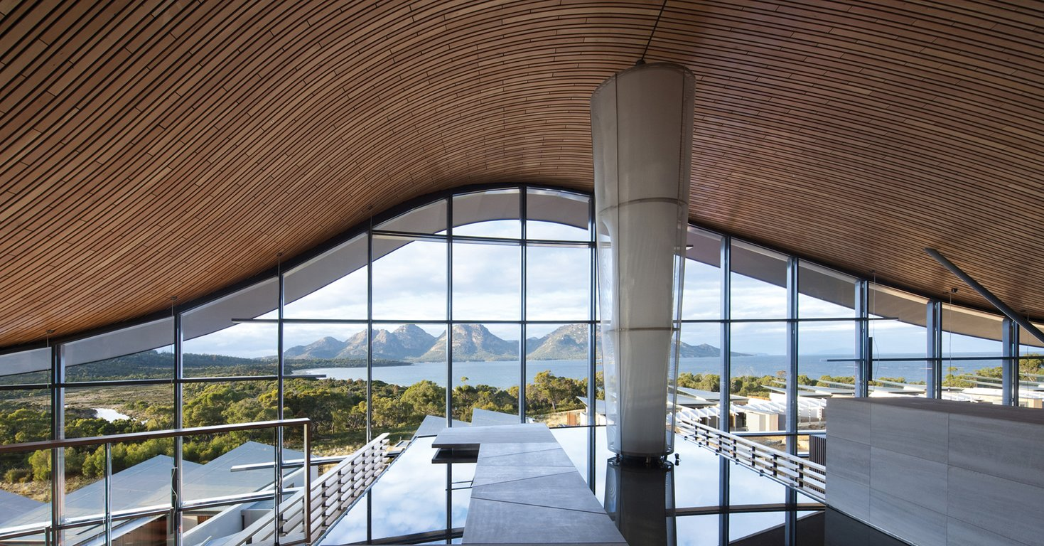 Entrance Lobby of the Saffire Lodge Resort, Freycinet Peninsula, Tasmania, Australia, with views to the Hazards