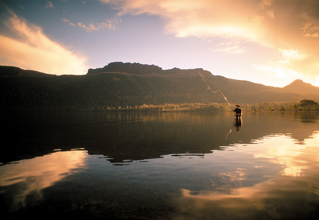 Fly-fishing at Lake St Claire in Cradle Mountain-Lake St Clair National Park for Tourism Tasmania, Australia