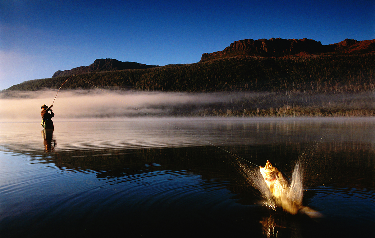 Fly-fishing at the unique and stunning Lake St Clair for Tourism Tasmania, Australia