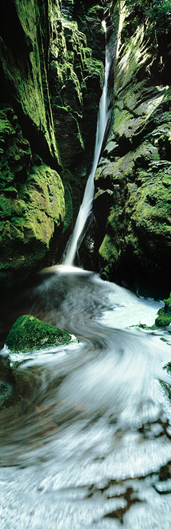 Waterfall on the Franklin River in the Tasmanian wilderness, Australia