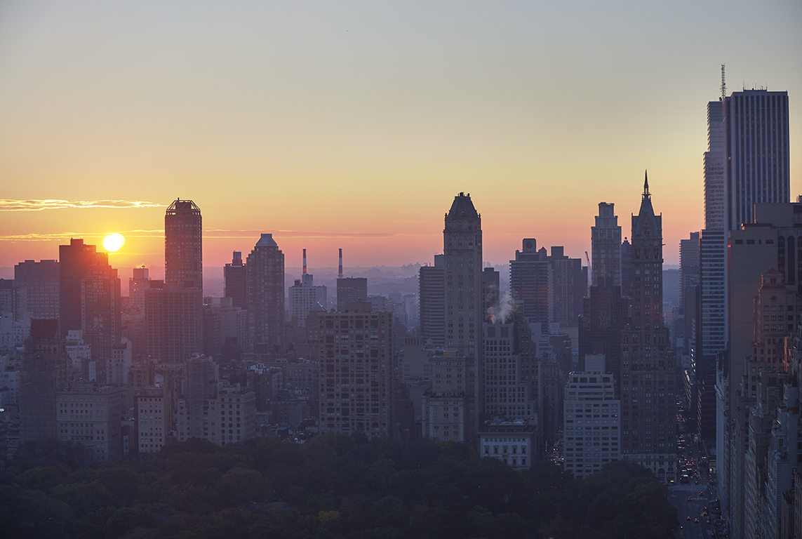 Morning view of Central Park looking east