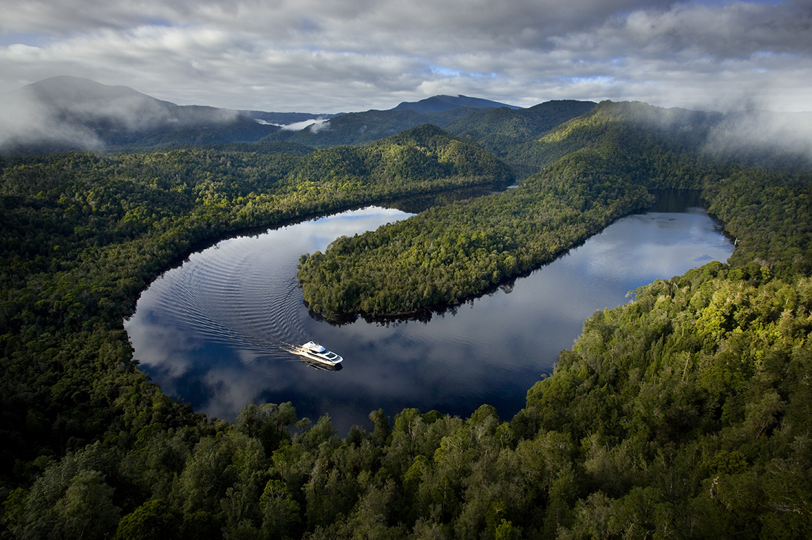 Picturesque Gordon River Tasmania, Australia aerial photography