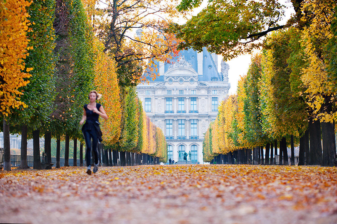 Early morning jogger at the Tuileries Garden, Paris