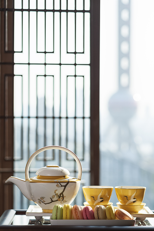 Tea service in the Presidential Suite at the Mandarin Oriental Hotel in Shanghai