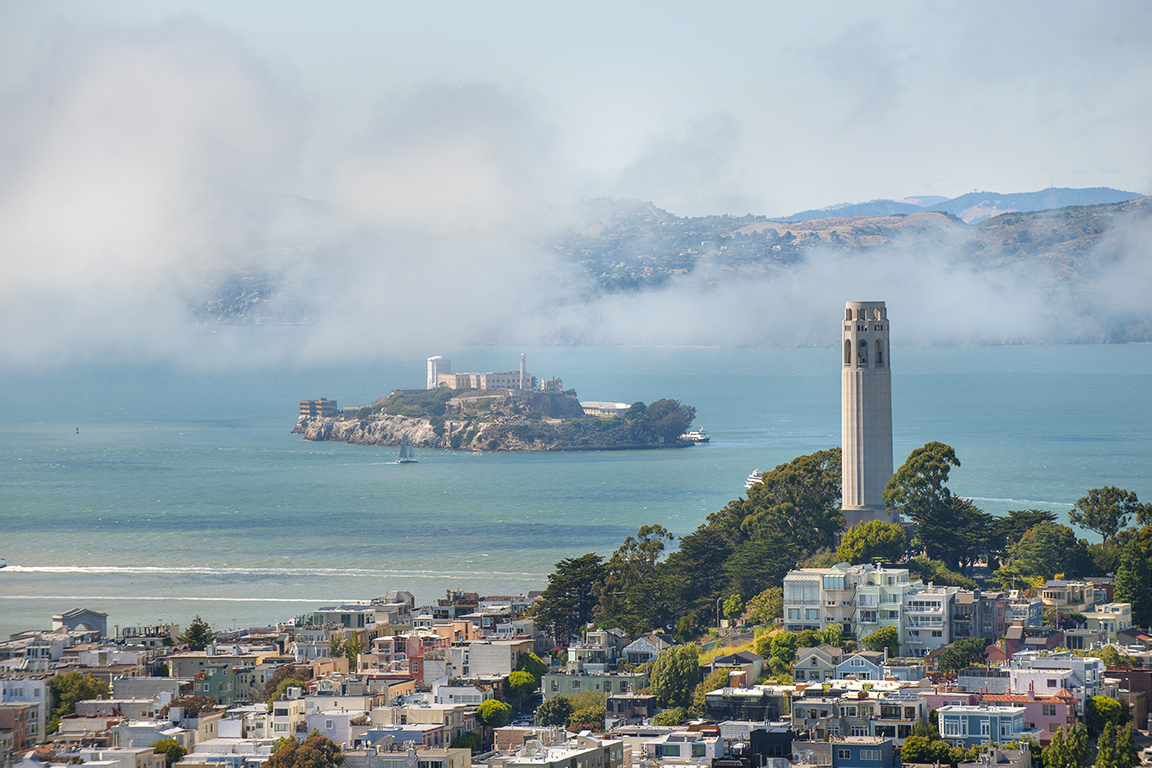San  Francisco Bay with the island of Alcatraz